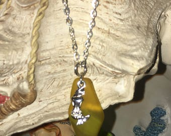 Yellow Sea glass inspired and mermaid pendant necklace