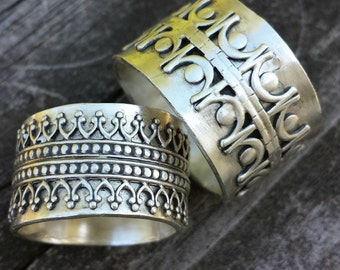 The WENCH and ROGUE WEDDING Set - Sterling Silver, Made To Order, Wedding rings, ethnic rings, bohemian, edgy, renaissance