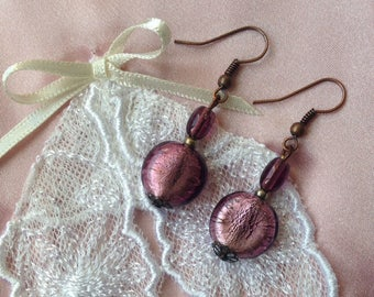 Romantic earrings pink glass and Pearl