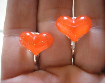 Play Earring - Clip - Puffy Heart - Red - 1/2""