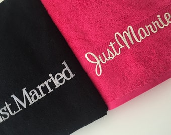 Just Married Honeymoon Wedding towel set of two.