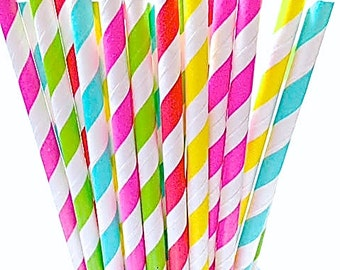 BRIGHT Colorful Paper Straws! 50 Hot Pink Yellow Aqua Blue Coral Green Striped Wedding decor, Fun Birthday Party, Shower Straw