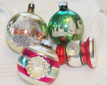 4 Vintage Glass Christmas Ornaments: Lantern Indent Painted Mica Stripes Shiny Brite