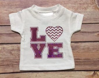 Doll Clothes, 18 inch Doll, Tee Shirt, LOVE design, Ready to Ship