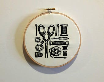 Sewing room decor, sewing notions art, seamstress decor, embroidery hoop art, sewing wall art, embroidered home decor, vintage sewing decor