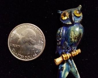 owl brooch owl pin enameled owl