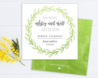 Square Green Wreath Save the Date - Floral Card