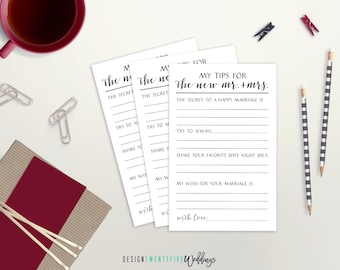 PRINTABLE Tips for Mr. & Mrs. Card // 3.5 x 5.5 // Wedding Guestbook // Wedding Advice Card // Advice for New Mr. and Mrs.