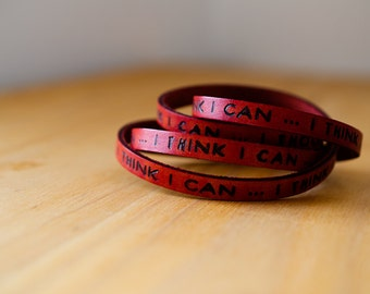 I think I can - The Little Engine that Could -  Ultra Long Hand Carved Leather Wrap Bracelet - IN STOCK SPECIAL