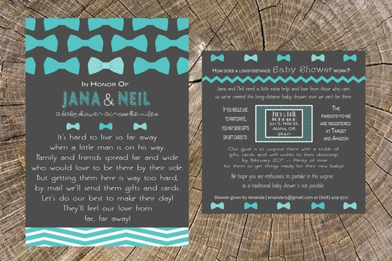 Delightful Long Distance Baby Shower Boy Bow Tie 5x7 Invitation And 5x5