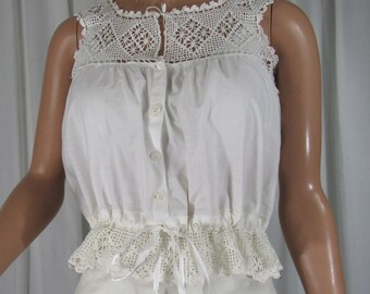 Edwardian Corset Cover Camisole Crochet Lace Top and Peplum Cotton Bust 36