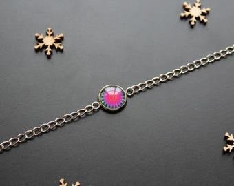 Silver bracelet, pink psychedelic glass cabochon