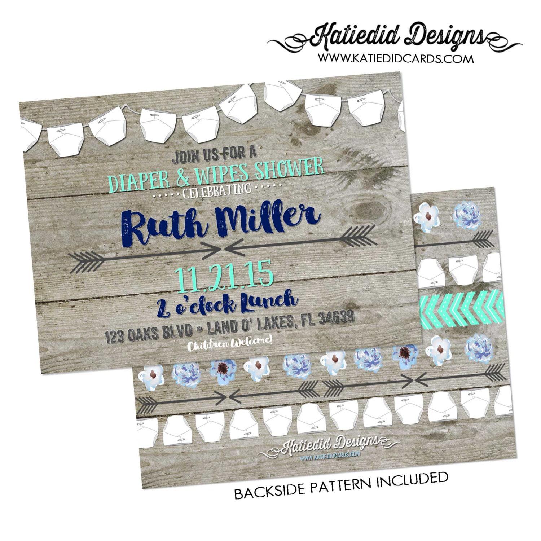 rustic baby boy shower invitation diaper wipe brunch tribal arrows ...