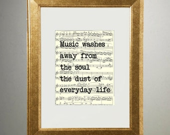 Gold Foil Art Quote Print | Music Washes Away | 501 | Vintage Sheet Music Wall Art