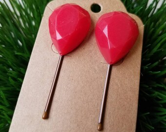 Red Ruby gemstone hair bobby