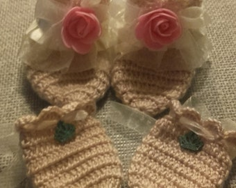 Game Booties and Crochet gloves
