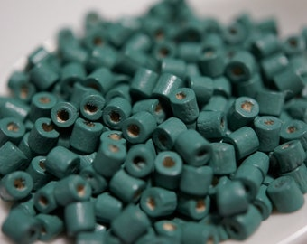 CLOSEOUT SALE - Deep Turquoise Green Wood Tube Beads - 3mm - 300 pcs