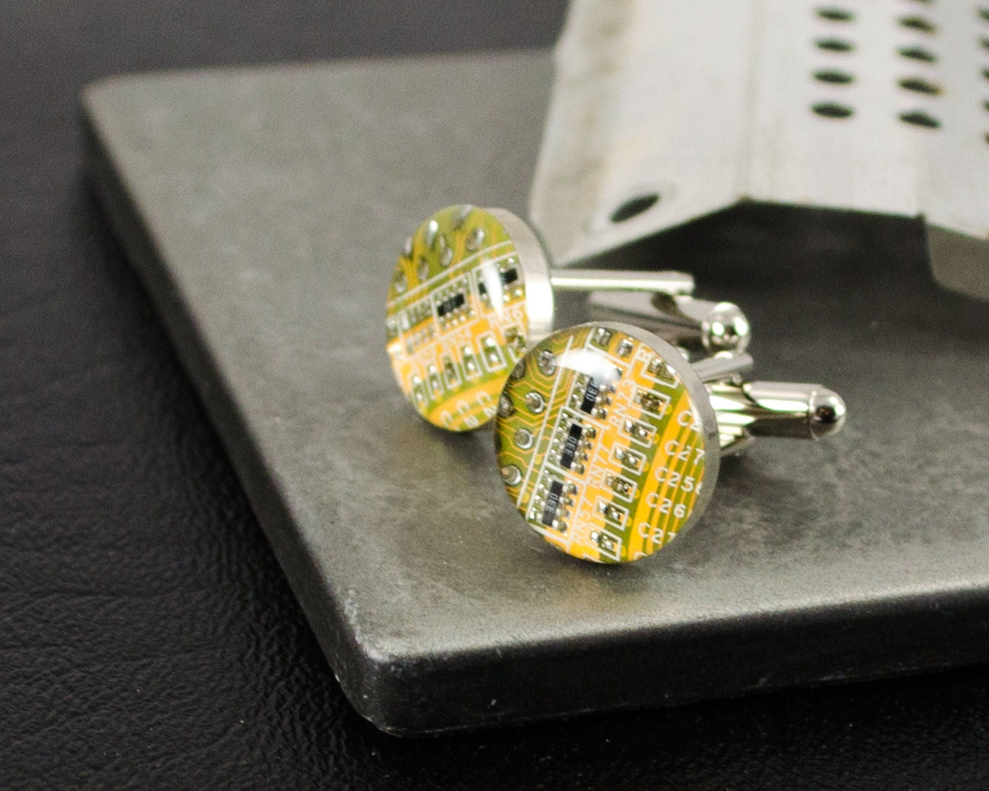 Yellow Circuit Board Cufflinks Upcycled Motherboard Jewelry Necklace Geekery Computer Nerd Green Upcycle Recycle Zoom