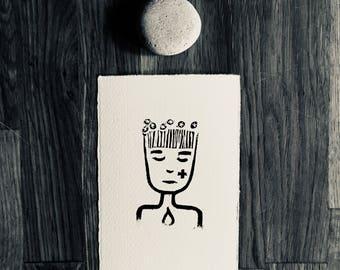 linoprint, blockprint, artprint, linocut print, 3.5 x 5.25 inch, handprinted, handpulled, handcarved, illustration, adventure , female