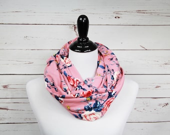 Mauve Pink Floral Infinity Scarf - Valentines Day Scarf