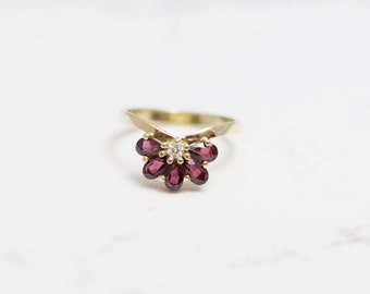 Diamond engagement Ring, wedding ring, Unique diamond and gold ring, Garnet ring, diamond ring, solid gold diamond ring
