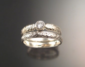 White Sapphire diamond substitute Victorian pattern two ring Wedding set handcrafted in 14k white gold made to order in your size