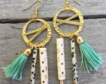 Handmade Tribal Earrings, Boho, Warrior, Gypsy, Tassel, Wood, Goddess, Summer, Sexy, Unique, Statement, Bone (Attention Grabber Earrings)