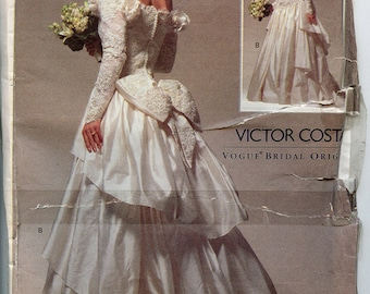 Victor Costa UNCUT Sewing Pattern Vogue Bridal 2783 Wedding Dress Sizes 6-8-10 Small Extra Small