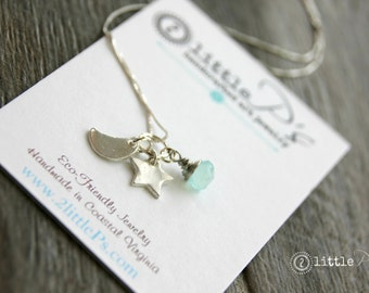 Celestial Joy Necklace, Moon, Star Handcrafted Mini-Charms Night Sky Necklace