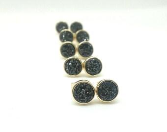 Druzy Earrings Black Druzy Stud Earrings Stone Studs Black Studs Crystal Earrings Crystal Studs Gold Stone Stud Earrings Black Druzy Studs