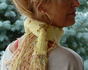 Small yellow scarf that's a neck adornment, unique crochet scarflette, girl's winter scarf, original crochet scarf, gift for her