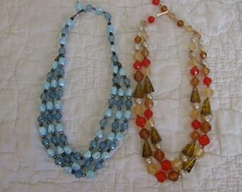 2 Vintage Necklaces Both Beaded Multi strands adjustable length