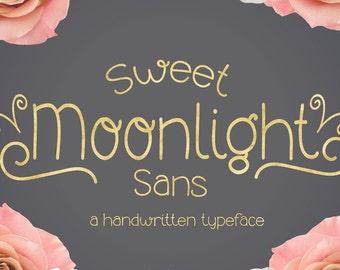 Digital Font Download- Handwritten Font for Commercial Use- Sweet Moonlight Sans Font- Open Type otf font for Mac/PC