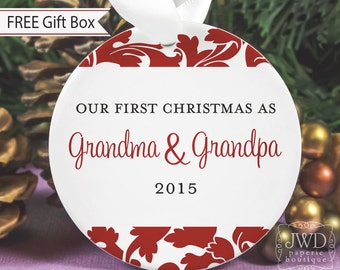 Grandparent Gift Personalized Grandparent Ornament Our First Christmas as Grandparents Grandma & Grandpa - Valencia Pattern  - Item# VAL-G-O