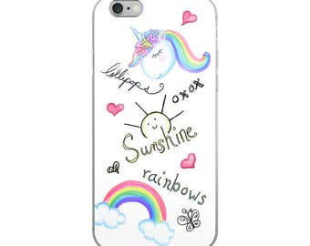 Sunshine, lollipops, rainbows and unicorns iPhone Case, cute Iphone case, fashion phone case, girly Iphone case, gift for her