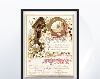 Custom Wedding Certificate - Wedding Bells - Marriage Certificate - Victorian Style