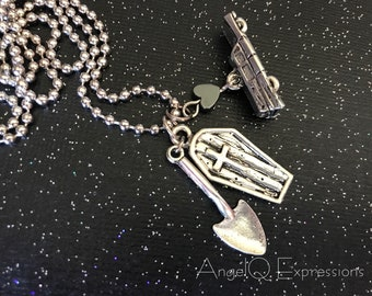 Graveyard Shift Charm Necklace with Coffin, Shovel, and Hearse