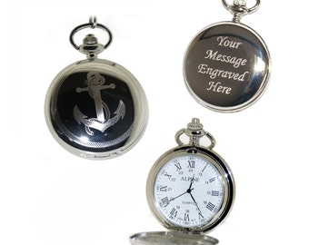 Anchor Nautical Pocket Watch Roman Numerals Gift for Best Man, Usher, Groom, Custom Engraved Birthday, Wedding or Anniversary Gift for Him