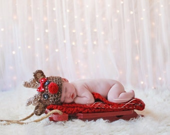 Baby Reindeer hat w BOW Christmas (sizes NB through adult)