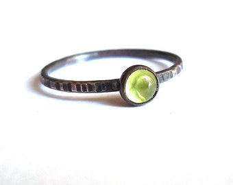 Tiny Green Apple - Dainty Peridot and Sterling Silver Rustic Stacking Ring