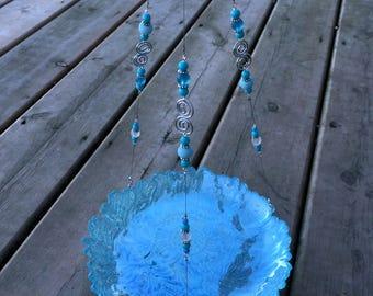 Bird feeder, Bird bath, Light blue glass plate, glass beads