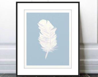 Blue Feather, Blue Feather Print, Blue Feather Art, Blue Feather Wall Hanging, Blue Feather Home Decor, Bird Feather, Bedroom Decor Digital