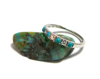 Turquoise and Diamond Eternity Ring, Diamond Eternity Ring, Gold Eternity Ring, Diamond Stacking Ring, Turquoise Wedding Ring with Diamonds.