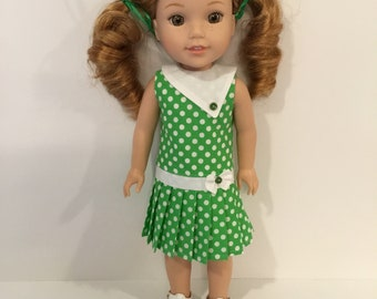 "14.5"" Doll  Clothes - Green and White Polka Dot Pleated Dress - To fit Wellie Wishers"