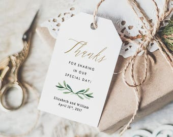 Thank You Tags, Thank You Wedding Tags, Thank You Tags Template, Favor Tags, Gift Tags, Thank You Label | Edit in Word or Pages