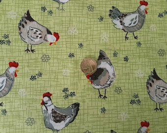 Rose & Hubble 100% Cotton Poplin Fabric - Chicken in the Meadow - Dressmaking , Quilting, Craft Material