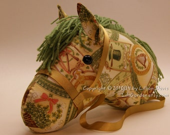 Stick Horse Head, Green & Gold Ireland Print or St Patricks Day Theme, MADE to ORDER, With or Without Stick