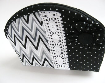 Black and White Change Purse, White Grey and Black Chevron, Black and White Polka Dot Coin Purse, Grey and White Chevron Toiletry Bag
