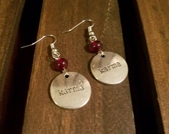 Karma Earrings with Red Glass Beads, Nickel Free Hardware  Ear Wires, and Metal Charms. FREE SHIPPING!! EE21