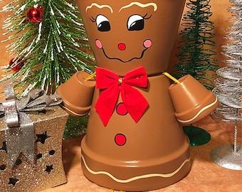 Gingerbread Decor with gift bag, Garden Decor, Gingerbread Man, Christmas Decoration, Winter Yard Art,  Xmas Decor